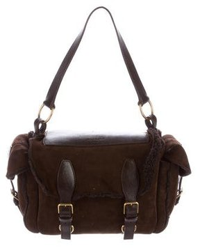Saint Laurent Shearling Shoulder Bag - BROWN - STYLE