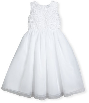 Joan Calabrese Sleeveless Floral Tulle & Organza Special Occasion Dress, White, Size 2-14