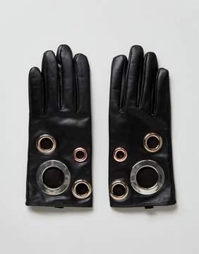 Asos Leather Eyelet Glove With Touch Screen