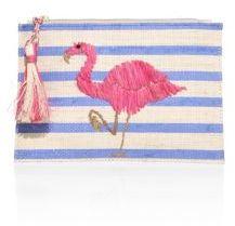 KAYU Flamingo Raffia Pouch