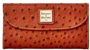 Dooney & Bourke Ostrich Continental Clutch Wallet - COGNAC - STYLE