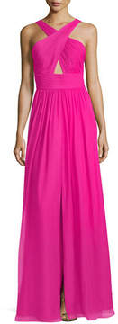 Aidan Mattox Pleated Silk Chiffon Halter-Neck Gown