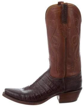 Lucchese Crocodile-Trimmed Cowboy Boots