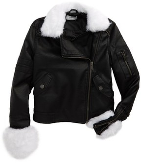 Tractr Girl's Faux Leather Bomber Jacket With Faux Fur Trim