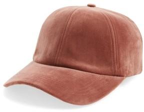 Sole Society Women's Velvet Baseball Cap - Pink
