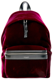Saint Laurent Mini Velvet City Backpack in Red. - FRENCH BURGUNDY - STYLE