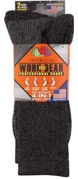 Fruit of the Loom Men's Work Gear Pro Crew Socks 2-Pack