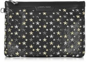 Jimmy Choo Derek Black Leather Clutch w/Multi Metal Stars