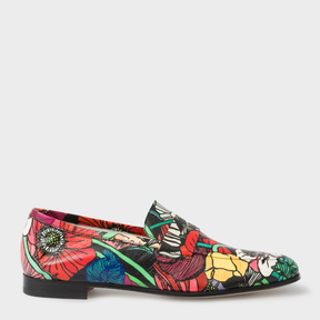 Paul Smith Women's Leather 'Glynn' Penny Loafers With 'Wild Garden' Print