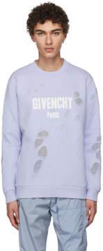 Givenchy Blue Distressed Logo Sweatshirt