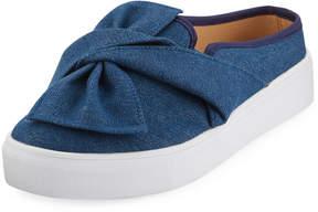 Neiman Marcus Camran Knotted Denim Slide, Blue