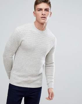 Jack Wills Wheatfield Textured Stitch Crew Neck Sweater In Off White