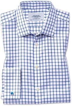 Charles Tyrwhitt Slim Fit Non-Iron Twill Grid Check Royal Blue Cotton Dress Shirt Single Cuff Size 14.5/33