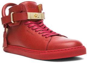 Buscemi 100 MM High Top Leather Sneakers in Red.