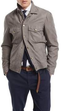 Brunello Cucinelli Suede Denim-Style Jacket