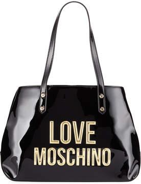 Love Moschino Patent Faux Logo Satchel Bag