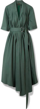 ADAM by Adam Lippes Asymmetric Pleated Cotton-poplin Midi Dress - Emerald