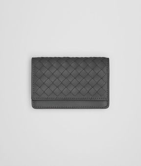 Bottega Veneta Light Gray Intrecciato Nappa Card Case