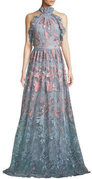 Marchesa Ombré Floral Embroidered Halter Gown