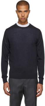 Lanvin Navy Cashmere Shoulder Seam Pullover