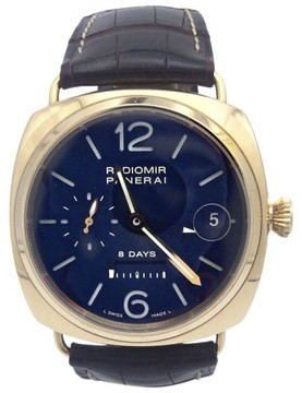 Panerai Radiomir PAM266 18K Rose Gold & Leather Blue Dial Manual 45mm Mens Watch