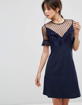 Elise Ryan A Line Mini Dress With Lace Frill & Fluted Sleeve