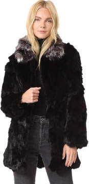 Adrienne Landau Rabbit Coat With Fox Collar