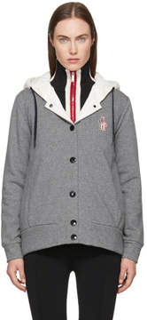 Moncler Grey and White Hooded Button Down Jacket