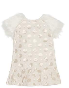 Halabaloo Dot Fur Sleeves Dress