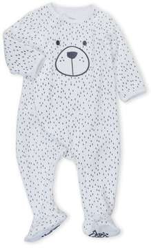 Petit Lem Newborn Boys) Velour Bear Dot Footie