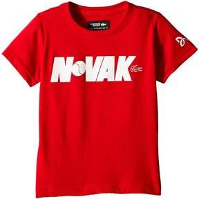 Lacoste Kids Technical Jersey Novak Fan Writing Print T-Shirt Boy's Clothing