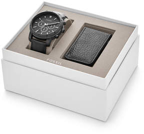 Fossil Lance Chronograph Black Leather Watch and Money Clip Gift Set