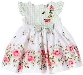 MonnaLisa Floral Printed Poplin & Gingham Dress