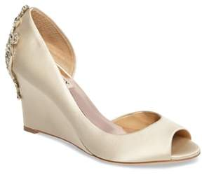 Badgley Mischka Meagan Embellished Peep Toe Wedge