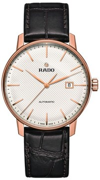 Rado Men's Coupole Classic Automatic Embossed Leather Strap Watch, 41Mm