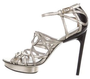 Jason Wu Metallic Leather Cutout Sandals