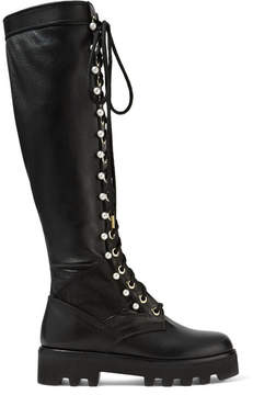 Altuzarra Cosmo Faux Pearl-embellished Leather Knee Boots - Black