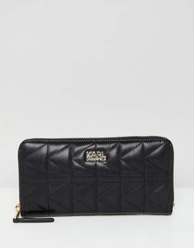 Karl Lagerfeld quilted zip around wallet