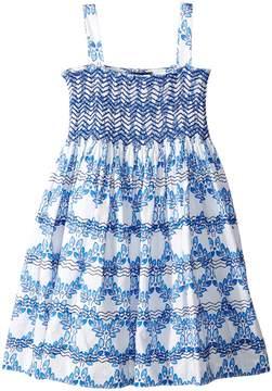 Oscar de la Renta Childrenswear Cotton Leaf Grid Smocked Dress Girl's Dress