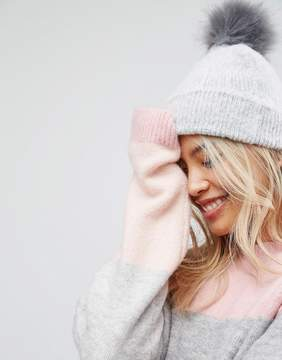 Asos Fluffy Beanie With Faux Fur Pom