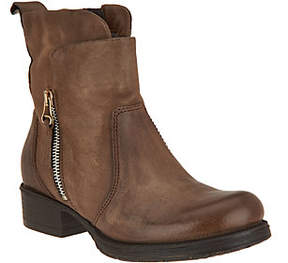 Miz Mooz As Is Leather Ankle Boots w/ Zipper Detail- Nimble