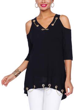 Belldini Black Chain-Trim V-Neck Cutout Tunic - Women