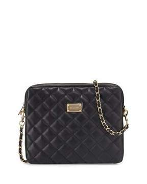 St. John Collection Quilted Napa Leather Crossbody Bag, Black/Gold