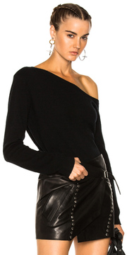 RtA Claudine One Shoulder Sweater in Black.