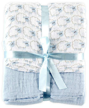 Hudson Baby White & Blue Sheep Fleece Swaddle Blanket - Set Of Two