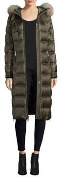 Andrew Marc Dyed Fox Fur Trim Puffer Coat