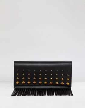 Asos DESIGN clutch bag with stud fringe detail