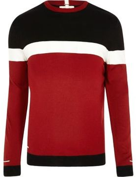 River Island Mens Big and Tall red color block slim fit sweater