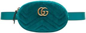 Gucci Blue Velvet GG Marmont Matelassé Belt Bag - BLUE - STYLE