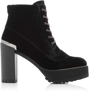 Stuart Weitzman Rugged Velvet Ankle Booties